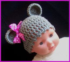 Crochet - Czapeczka szydełkowa z kokardką . Little mouse