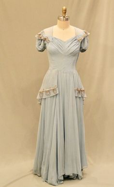 Baby Blue Gown, Sequin Netting Peplum, ca. Cheap Homecoming Dresses, Prom Dresses Blue, Summer Dresses, 1940s Outfits, Vintage Outfits, Vintage Wardrobe, 1940s Fashion, Vintage Fashion, Look Gatsby