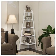 Shelving Unit White, Decorative Bookshelf