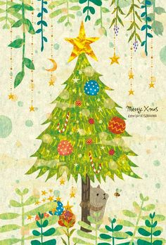By Megumi Inoue. Winter Illustration, Plant Illustration, Christmas Illustration, Graphic Illustration, Christmas Drawing, Christmas Art, Apple Watch Wallpaper, Merry Xmas, Illustrations Posters