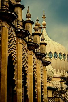 The Royal Pavilion is a former royal residence located in Brighton. It was built in three campaigns, beginning in 1787, as a seaside retreat for George, Prince of Wales, from 1811 Prince Regent.
