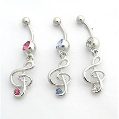 £1.99 Surgical Steel Treble Clef Music Note Navel/Belly Bar - Choose Colour | eBay