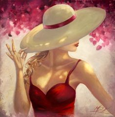 NEW HAT Original oil on canvas features a lady in red, dappled sunlight, sun hat, bougainvillea, sunlight, feminine beauty, classy pose and chic style. Created with brush and palette knife on a textured canvas. See the original and more of the artist's work at www.michaelrockgallery.com Prints of this work can be found at;
