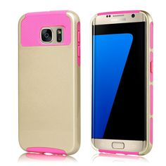 Galaxy S7 Edge Case,E-weekly(TM) Premium Extra Slim Shockproof Case, Hybrid Dual Layer Protective Case Cover 2 Piece Hard PC Shell Case Rugged Soft TPU Bumper For Samsung Galaxy S7 edge (Pink/Gold) * This is an Amazon Affiliate link. Want to know more, click on the image.