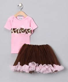 Take a look at this Pink Giraffe Bow Tee & Tutu - Toddler by Pixie Princess Collection on #zulily today!