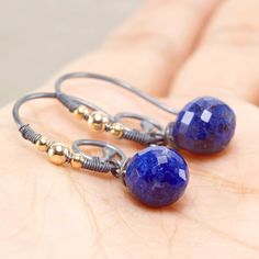Royal blue Lapis Lazuli acorn shape gemstone drop, oxidised 925 silver and 14k gold filled hooks, Gift for her ... Gift Earrings by JewelleryHaven on Etsy https://www.etsy.com/sg-en/listing/288072399/royal-blue-lapis-lazuli-acorn-shape