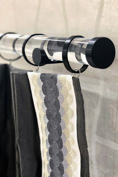 "Contemporary Attitude! Nolita hardware gets you closer to your window goals. 1-3/8"" acrylic poles are stylish and engineered for smooth performance. Fun finishes. Art deco tape on drape: Color Bubbles Collection by Brimar."
