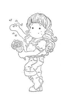 .tilda avec un cornet rempli de coeurs et semant à tous vents - St-Valentin
