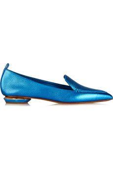 Nicholas Kirkwood Metallic textured-leather point-toe flats  | NET-A-PORTER