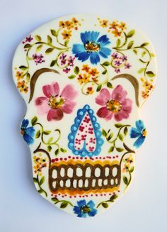 Beautiful water colored sugar skull cookie