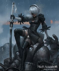 NieR:Automata fanart~~~hello every one ,thats my new painting~~~~thankyou for watching! hope u love it! and feedback is awesome! Fantasy Girl, Dark Fantasy, Anime Fantasy, Video Game Art, Video Games, Fanart, Mileena, Wolf, Looks Cool
