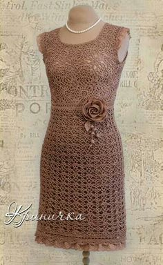 #crochet dress in mocha lace #yarn.