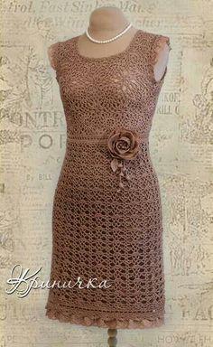 #crochet dress in mocha lace #yarn.