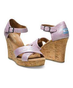 Look at this #zulilyfind! Lilac Metallic Linen Wedge Sandal by TOMS #zulilyfinds