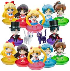ALL the new Sailor Moon Petit Chara models! Featuring Artemis, Luna, Sailor Moon, Mars, Mercury, Jupiter, Venus and Tuxedo Mask! More info and shopping links here http://www.moonkitty.net/buy-bandai-tamashii-nations-sailor-moon-sh-figuruarts-figures-models.php #SailorMoon