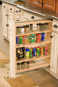 Pull out spice rack. No more wasted space! Use for oil & spice rack? Pull Out Spice Rack, Spice Racks, Modular Home Manufacturers, Craft Cabinet, Purple Rooms, Kitchen Pantry Cabinets, Build Your Dream Home, Modular Homes, Reno