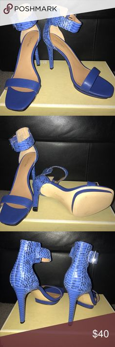 "New Calvin Klein heels Sexy and stylish Calvin Klein strapped heels. Beautiful royal blue color with snakeskin print on the heel and high ankle straps. Heel is 4"" with a 1/2"" platform in the front! 💕 Calvin Klein Shoes Heels"