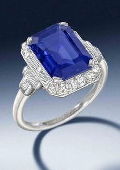 An Art Deco sapphire and diamond ring, by Cartier, circa 1930. The cut-cornered…