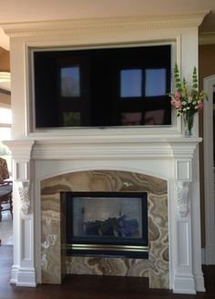 Flat Screen Tv Built In Above Custom Built Fireplace #nicholasavourisdesigns