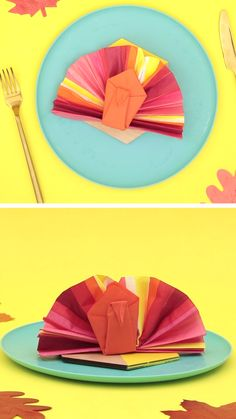 DIY a super cute turkey napkin for your Thanksgiving table setting with this easy paper craft video tutorial.