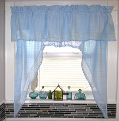 Blue color bathroom kitchen window curtain valance drapes, cottage country beach house style embroidered material window curtain 56 X 37 1/2 by HTArtcraftAndVintage, $44.75