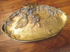 "Antique Art Nouveau Vanity Tray Hammered Brass SPARROWS CHERRIES  14.75""x 8.75""  #Unknown"