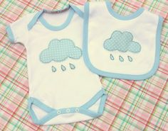Handmade baby onesie vest & velcro bib spotty blue Raincloud freemotion embroidery, made in England, British, baby shower, newborn baby gift...