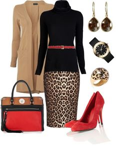 LOLO Moda: Unique Women Styles Like the shirt, skirt, belt, shoes, & purse… Classy Outfits, Chic Outfits, Fall Outfits, Fashion Outfits, Womens Fashion, Leopard Print Outfits, Leopard Dress, Leopard Prints, Leopard Fashion