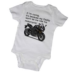 IF I'M CRYING... Bodysuits, Tees, Motorcycle, Bike, Dad, Father's Day, Son, Daughter, Baby, Infant, Newborn, Baby Shower, Party Favor
