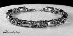 """Byzantine Orbit Chain"" (variation) bracelet... round and semi-square wire stainless steel w/ solid stainless steel beads, to fit 8 1/2"" wrist, 1 1/4 ounces."