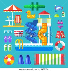 Set the water park visitor. Summer vacation by the pool or on the beach. Swimming lessons and fun water sport. Vector flat illustration