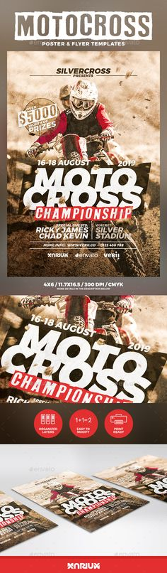 Buy Motocross Flyer and Poster by Mariux on GraphicRiver. Motocross Championship Flyer and Poster Template Print dimensions: Features: Highly organized f. Event Poster Design, Poster Design Inspiration, Flyer Design, Motocross Logo, Motocross Championship, Facebook Cover Template, Free Flyer Templates, Sports Flyer, Sports Graphics