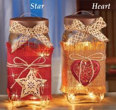 Lighted Country Glass Jar Electric Accent Lamp Night Light Jute Star or Heart #Unbranded #Country