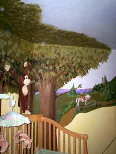 Enchanted Forest Wall Mural painted in a kid's bedroom. Showing Ceiling and Attached Stuffed Monkey
