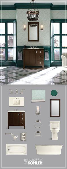 Get the look: classic bathroom featuring Kohler Poplin Tailored Vanity