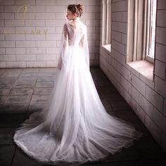 ed014651 Sunvary V-Neck High-Low Bryllupsklær Lynlås Blonder Blonde Bånd Brude Kjole  Sequins Perler