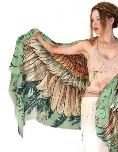 Bird Scarfs for Women in Cotton and Silk Cashmere