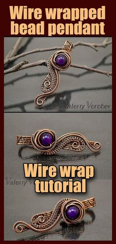 Wire wrapped bead pendant tutorial. How to make wire wrapped bead pendant. Wire Wrapped Stone Pendant. Wire wrap tutorial, wire weaving tutorials If you have been thinking about learning how to make wire jewelry using this technique, but didn't know how to start, then you are in the right place. I will definitely help you. Getting started with this technique is much easier than it seems. This technique allows you to create beautiful, one of a kind jewelry. Wire Tutorials, Jewelry Making Tutorials, Wire Wrapped Necklace, Wire Wrapped Pendant, Wire Jewelry Designs, Handmade Jewelry, Diy Jewelry, Jewellery, Wire Weaving Tutorial