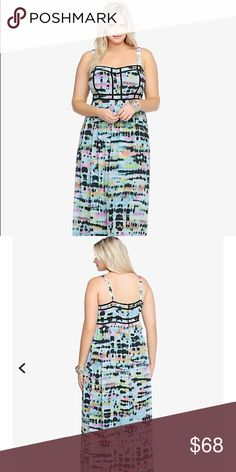 torrid maxi dress Torrid maxi dress size 20💗sold out online. This maxi dress is multi-colored, and it has a tie-dye pattern. The dress is Beautiful💜The material is 100% Polyester 🌴Perfect for the Summer🌴photo credit: first and second photo are stock photos from torrid.com 💗good condition💗 torrid Dresses Maxi