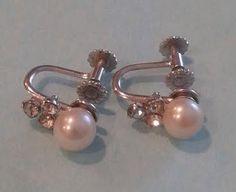 """Vintage """"KREMENTZ"""" Cultured White Pearl Earrings with Rhinestone clusters…"""
