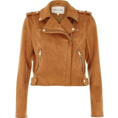 River Island Tan faux suede biker jacket (€65) ❤ liked on Polyvore featuring outerwear, jackets, jackets/blazers, river island, coats / jackets, tan, women, tan moto jacket, long sleeve jacket and tan faux suede jacket