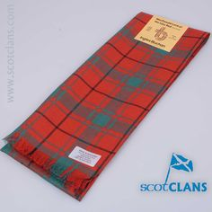 Pure wool scarf in MacDonald Lord of the Isles Red Tartan - From ScotClans