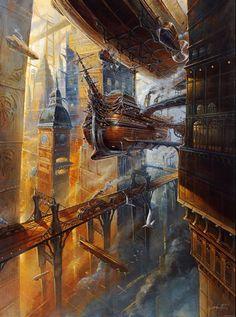 #Steampunk Tendencies | Didier Graffet #Painting #Airship #Cityscape
