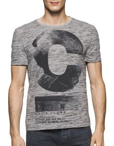 Calvin Klein Jeans Space Dye Logo Printed Tee Men's Chrome Medium