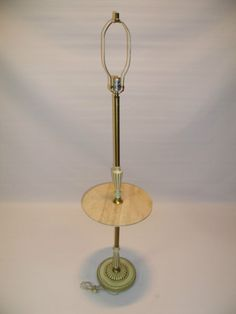 Hollywood Regency Italian Brass Floor Lamp With Travertine Table 1940s