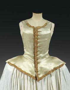 Thierry De Maigret - Jacket or vest riding woman, Louis XV, water green satin lace trimmings of gold spun and gilded copper strip, complete with its ten gold metal bell buttons, linings front canvas natural linen and pink taffeta tape on the edges (slight pitting in satin) See This reproduction model leotard shortcut wide basque to wear a skirt baskets, is the image of riding clothes and hunting women in the eighteenth century, strongly inspired costume male