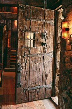 Lone Peak Lookout, Pearson Design Group ~ almost a medieval look to this door architecture Cool Doors, Unique Doors, The Doors, Entry Doors, Windows And Doors, Front Doors, Rustic Doors, Wooden Doors, Old Wood Doors