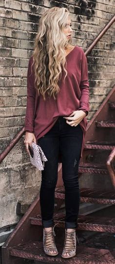 cool outfit idea: top + pants + heels