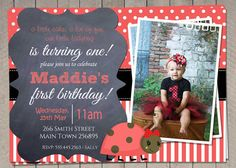 Girls 1st Birthday Invitation / Red by InvitaitonsByLittleP
