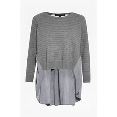 French Connection Autumn Effie Knits Jumper ($118) ❤ liked on Polyvore featuring tops, sweaters, grey mel multi, long sleeve knit sweater, grey knit sweater, gray polka dot sweater, polka dot sweater and long sleeve jumper